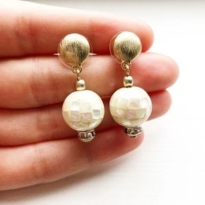 "Stunning gold & white shell ""disco ball"" earrings"